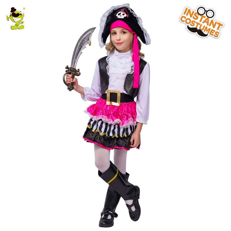 Halloween Costumes For Girls.Pink Pirate Halloween Costumes Girls Party Cosplay Costume