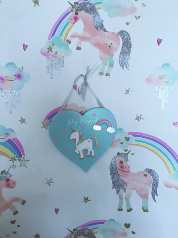 "Pastel mint green ""Stay Magical"" glitter unicorn and rainbow door or wall plaque."