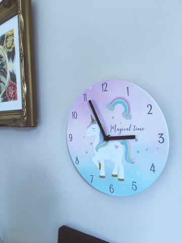 Pastel blue & pink ombre children's bedroom/pay room unicorn battery operated wall clock.