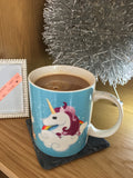 I Don't Believe In Humans pastel coloured unicorn coffee mug, made from bone china
