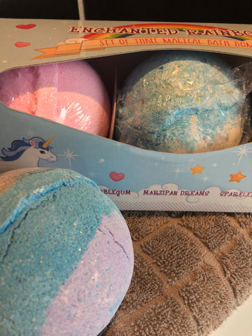 Enchanted Rainbows Unicorn scented bath bomb triple pack: 1 each of Pink Bubblegum, Marzipan and Sparkleberry. Not tested on animals.