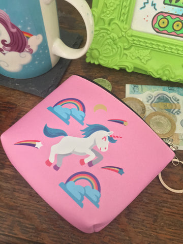 Pink unicorn & rainbow miniature coin and make up pouch/purse. Zip up bright pink purse made of PU