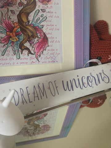 "Lilac & white pastels wooden ""Dream Of Unicorns"" wall and door plaque"