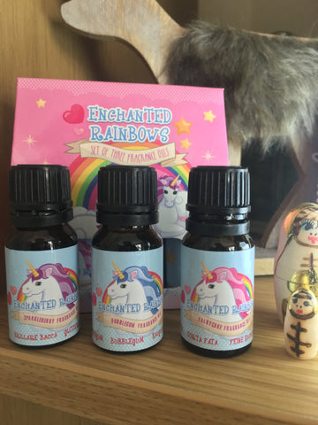 Enchanted Rainbows Unicorn scented oil burner/wax melt oils triple pack: 1 each of Pink Bubblegum, Fairy Cake and Sparkleberry. Triple pack of room fragrance secented oils, 3 x 10ml bottles gift boxed