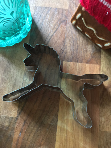 Novelty unicorn figure cookie cutter, plasticine mould, candle wax cutter.
