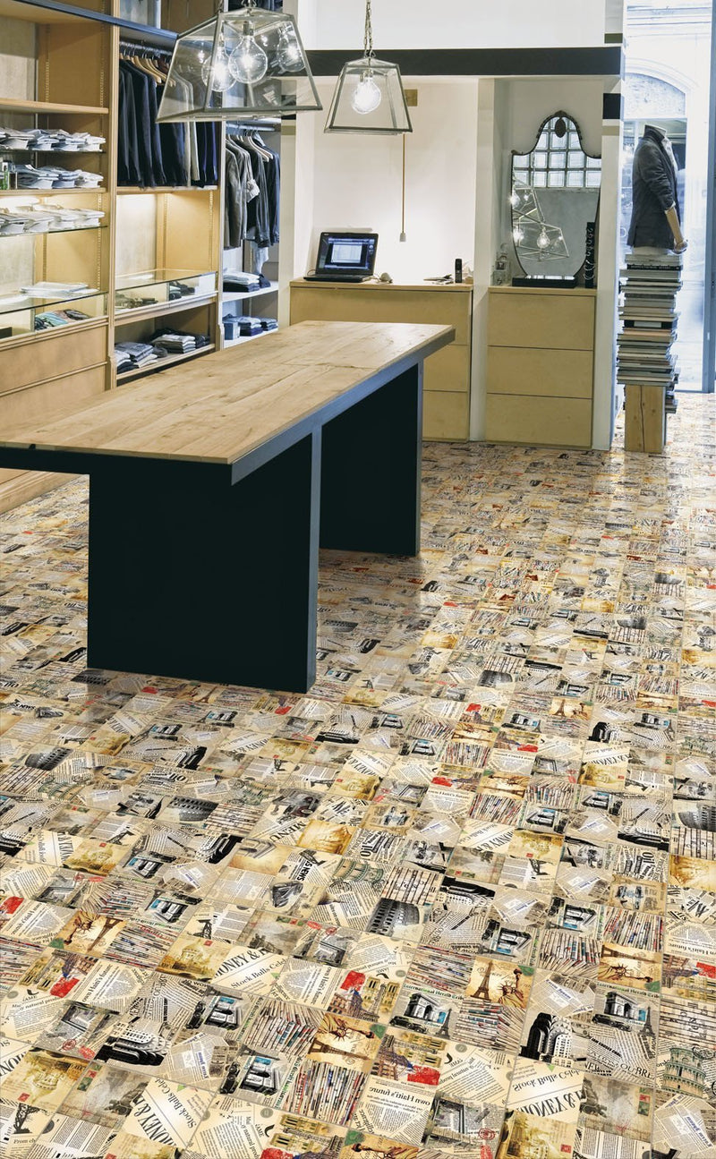 Retro Clippings Glazed Wall and Floor Tile