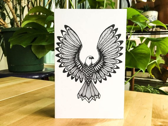 Eagle Bird Feather Coloring Greeting Card