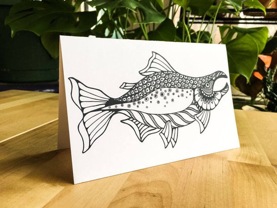 Salmon River Fish Coloring Greeting Card