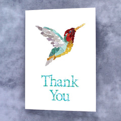 Sea Glass Hummingbird Thank You Card