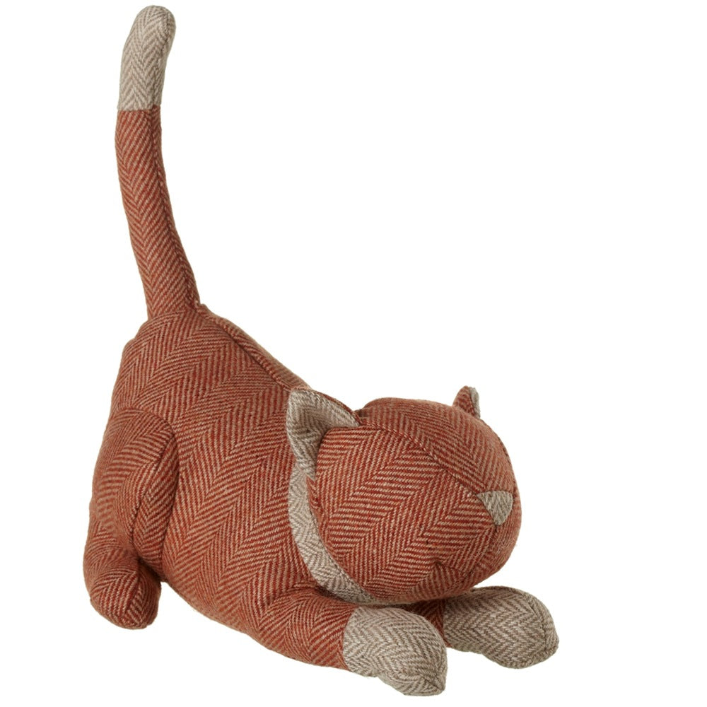 Orange Herringbone Cat Door Stop