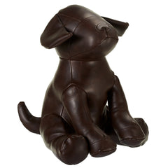 Brown Faux Leather Dog Door Stop