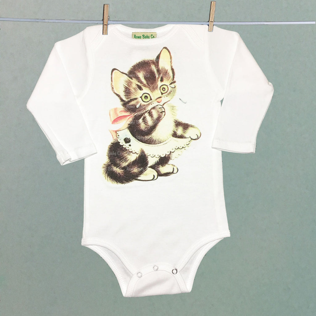 Vintage Kitten Bodysuit - White Long Sleeve