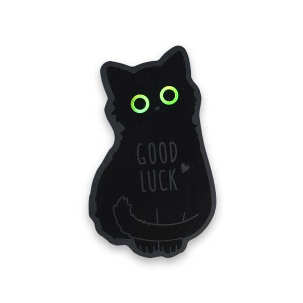 Good Luck Cat (Cutout) Holographic Eyes Sticker