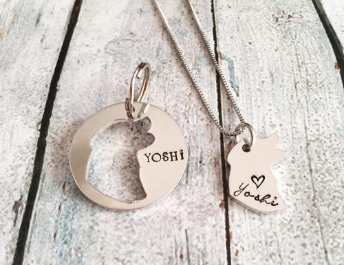 Hand stamped custom dog tag bff