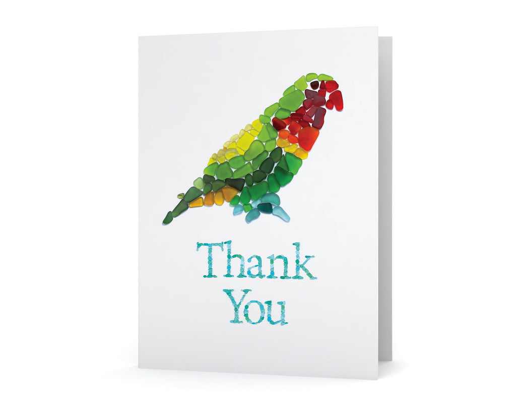 Sea Glass Parrot Thank You Card