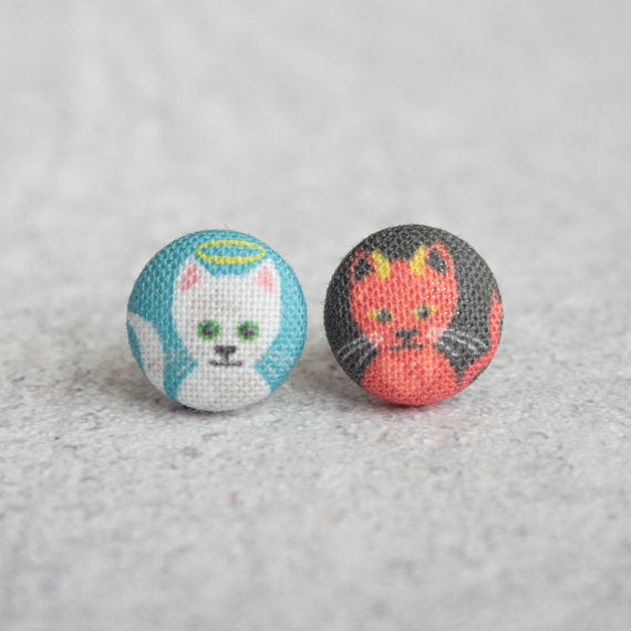 Good and Evil Kitties Fabric Button Earrings