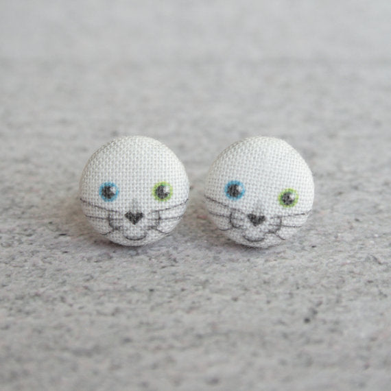 Snowball Kitten Fabric Button Earrings