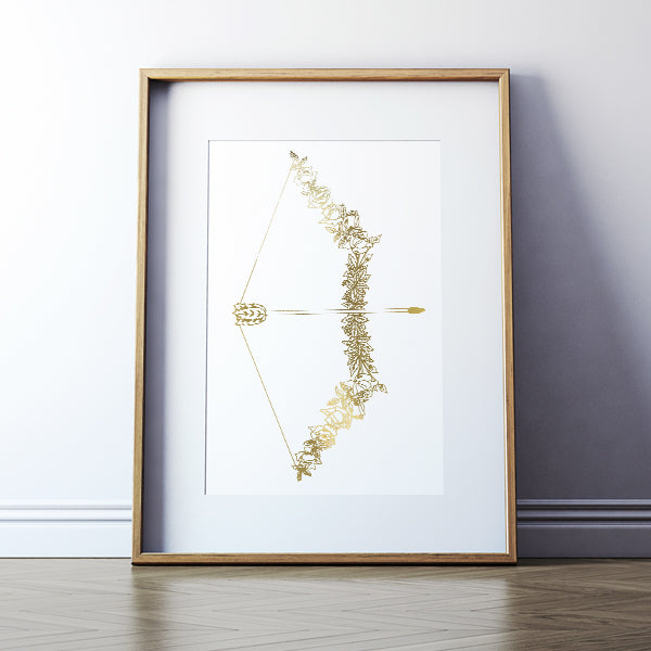Sagittarius Bow + Arrow Foil Print