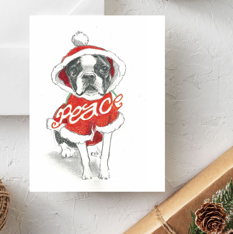 Boxed set of 10 Boston Terrier Holiday Cards