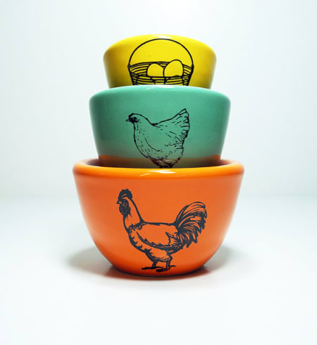 The Urban Set of Fresh Eggs Ceramic Bowl Set
