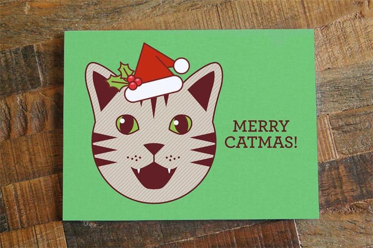 Tiny Bee Cards - Merry Catmas Card