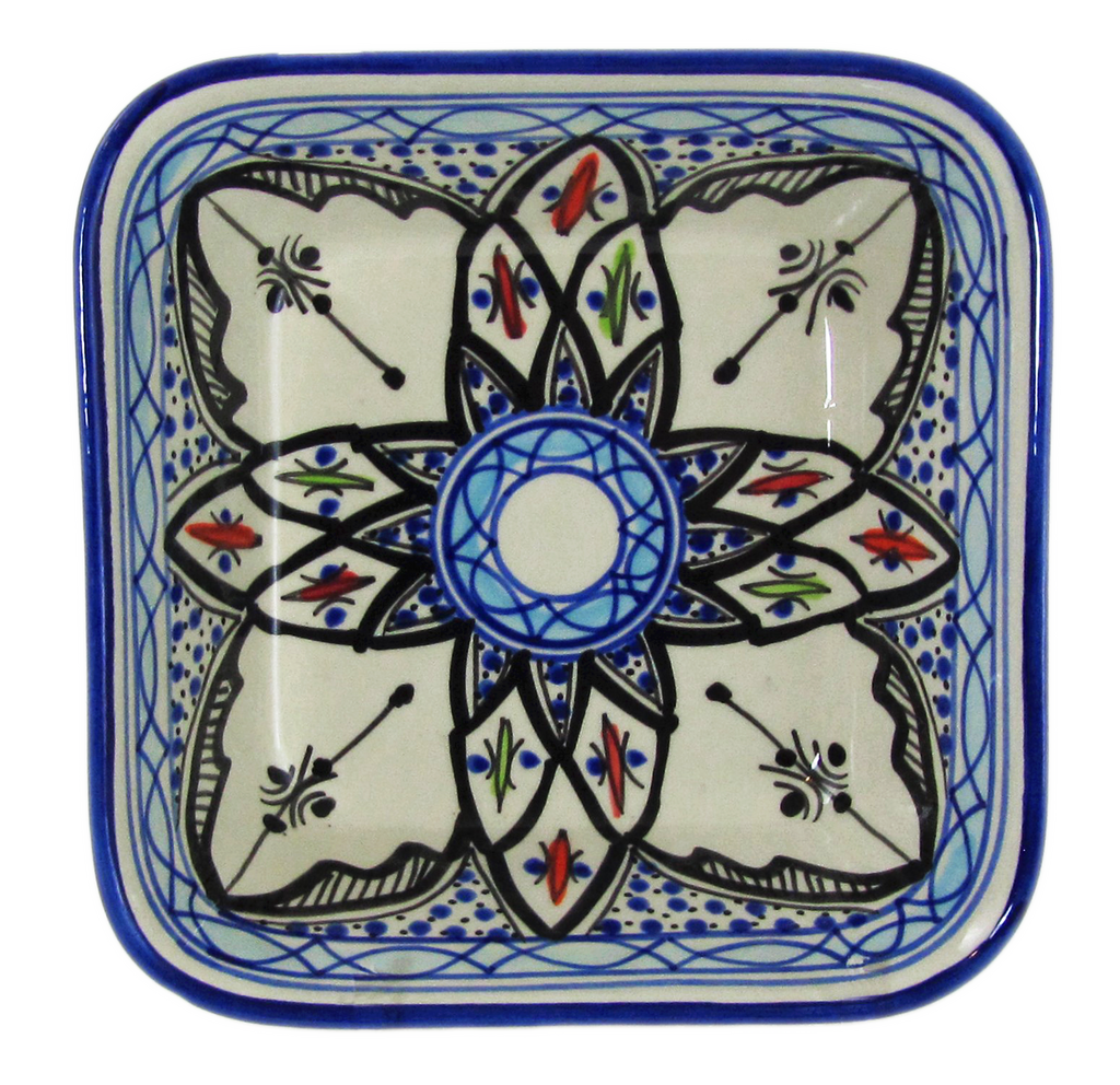 Le Souk Ceramique and Le Souk Olivique - Square Stoneware Pasta/Salad Bowl, Tibarine Design