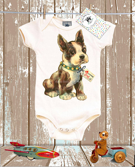 Boston Terrier Bodysuit - Organic Short Sleeve