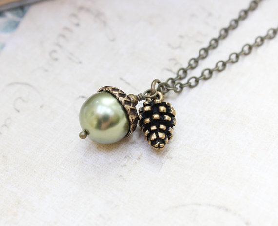 Green Pearl Acorn Necklace with Pinecone Charm Pendant