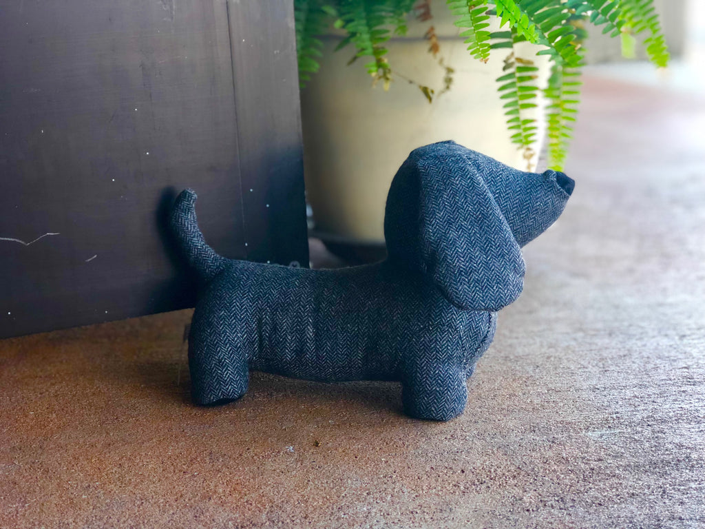 Grey Herringbone Dachshund Dog Door Stop