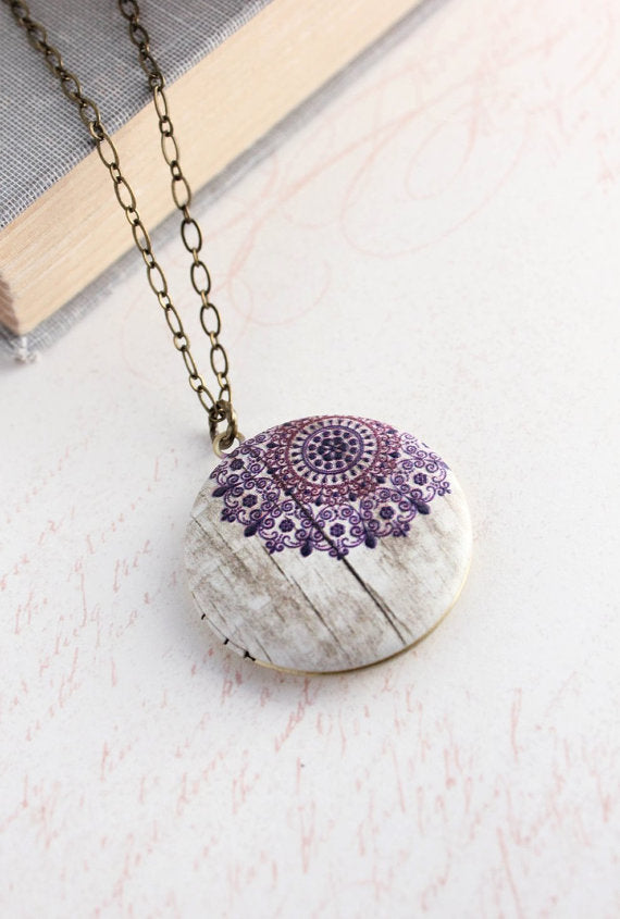 Purple Lace Snowflake Locket