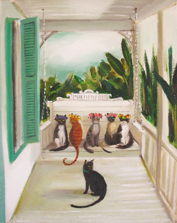 Janet Hill Studio - Visit The Resident Tomcat 'Folklore' And His Groupies Art Print - 8.5 X 11