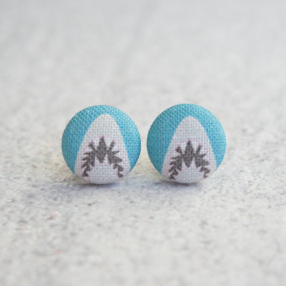 Shark Attack Fabric Button Earrings