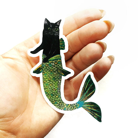 Pergamo Paper Goods - Black Cat Mermaid Sticker - 4""