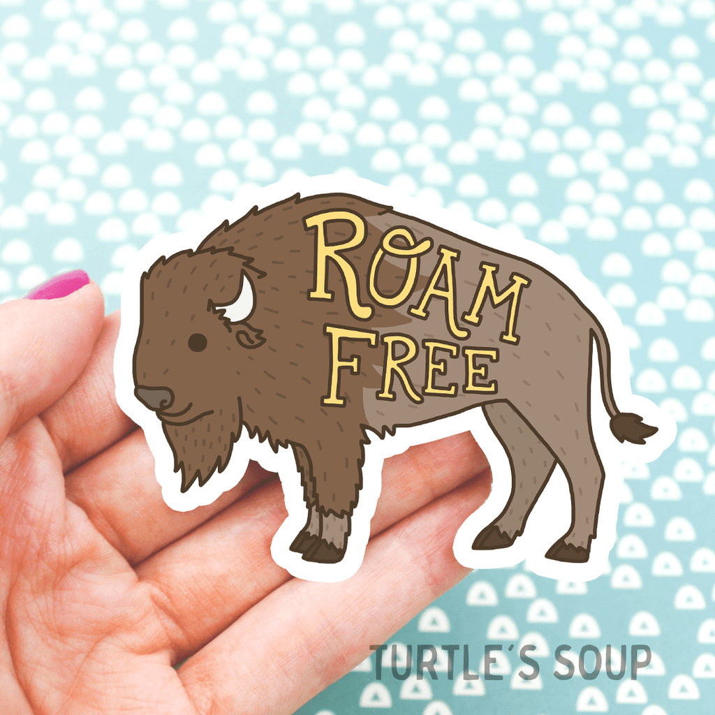 Roam Free Buffalo Vinyl Sticker