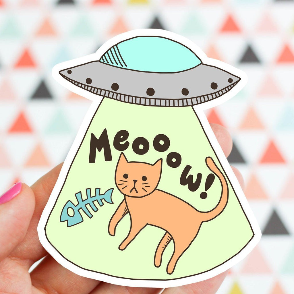 UFO Cat Abduction Vinyl Sticker