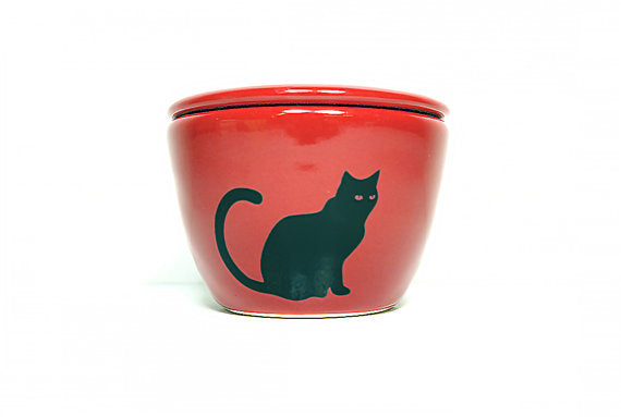 Circa Ceramics - Lidded Bowl/Jar With A Black Cat Silhouette Print