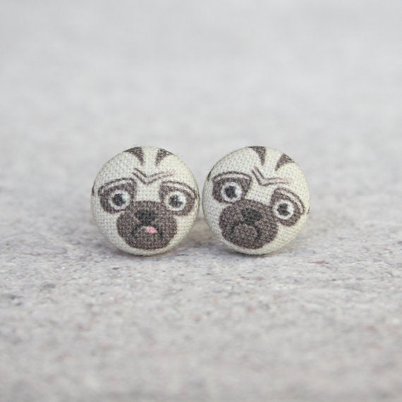 Pug Fabric Button Earrings