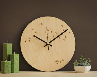 Flock of Birds Wall Wooden Clock