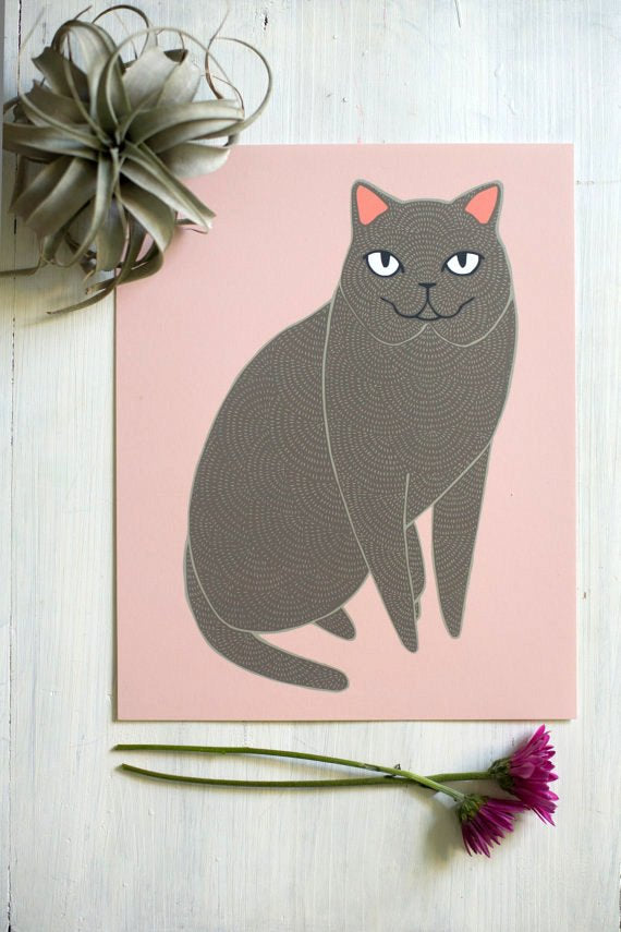 Grey Cat Illustration By Stacie Bloomfield