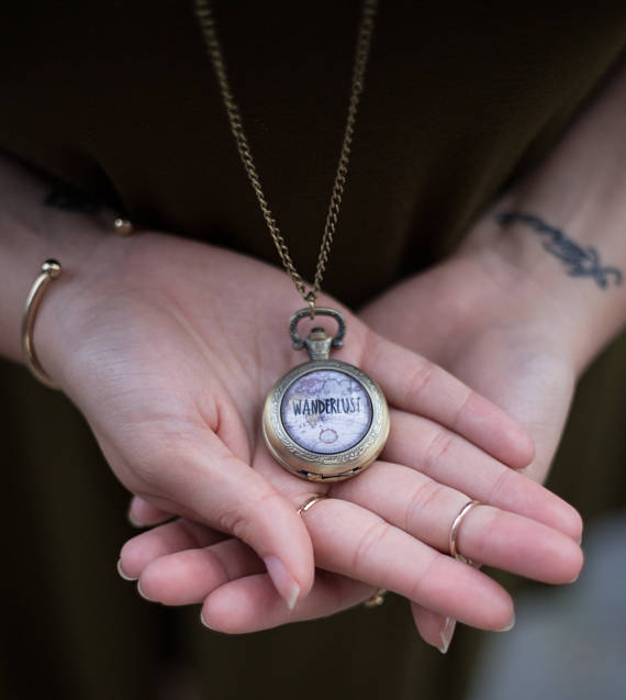 Wanderlust Pocket Watch Necklace