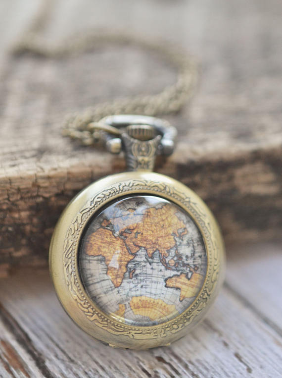 Vintage Map Pocket Watch Necklace
