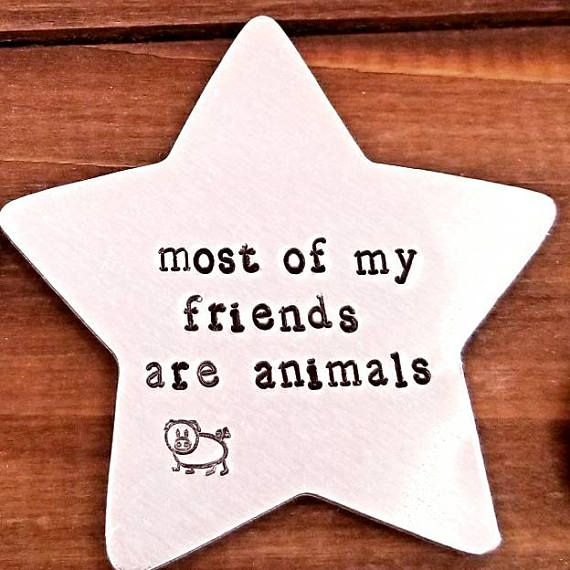 Most of my Friends Are Animals - VEGAN Star Hand Stamped Aluminum Fridge Magnet