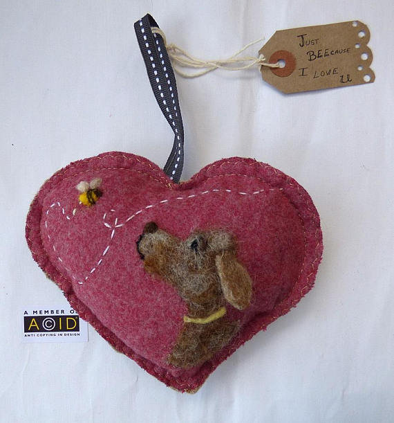 Felted BEEcause I LOVE you Heart