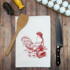 Rooster Flour Sack Tea Towel - Chicken Kitchen Towel