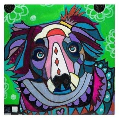 Australian Shepherd Dog Art On Ceramic Tile