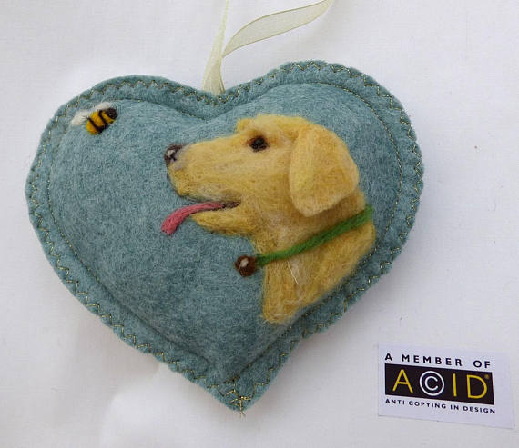 Felted Golden Retriever Dog Heart