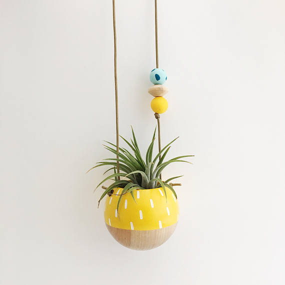 Mini Hand Painted Hanging Planter Yellow