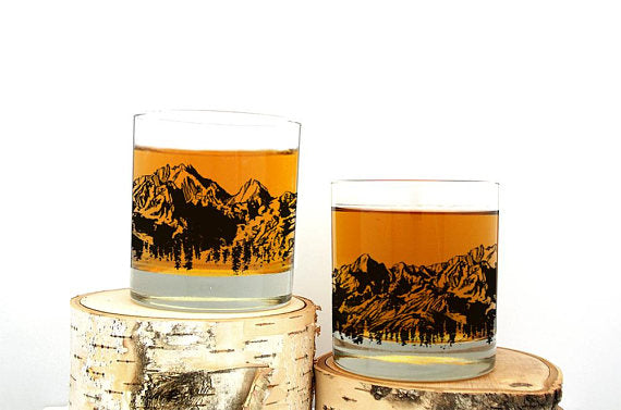 Mountain Range Whiskey Glasses 11oz. Tumblers