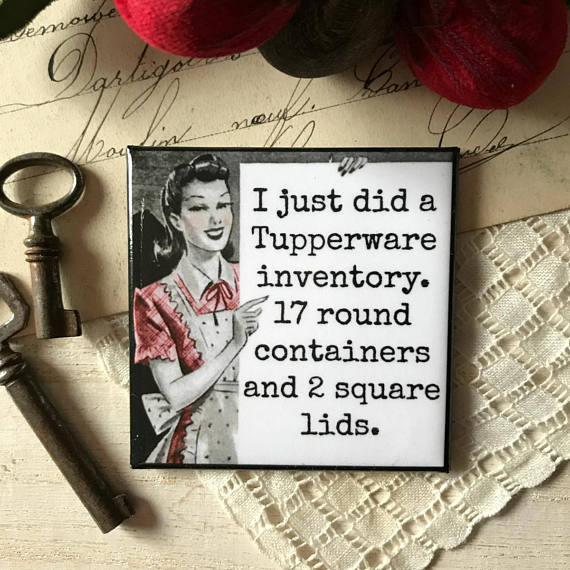 """I Just Did A Tupperware Inventory. 17 Round Containers And 2 Square Lids"" Vintage Photo Magnet"