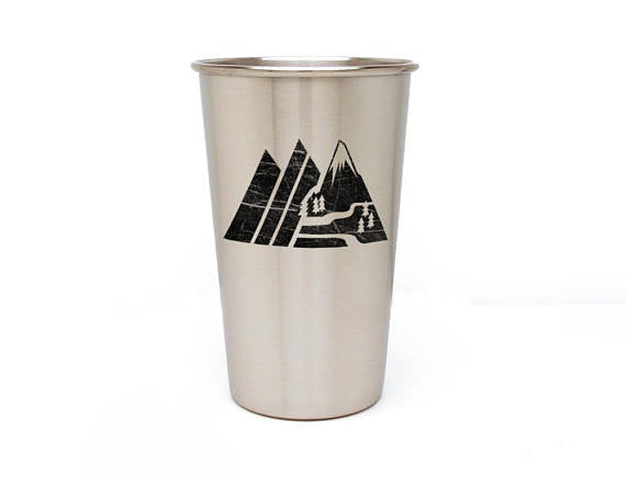 Retro Mountain Range Stainless Steel Pint Glass 16oz